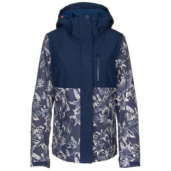Roxy Jetty Block Womens Insulated Snowboard Jacket, Mid Denim Bleached Flowers, 600