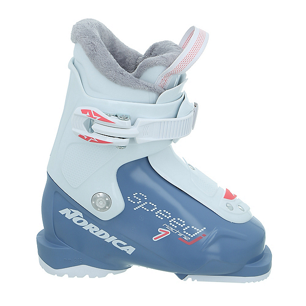 Nordica Speedmachine J 1 Girls Ski Boots, Light Blue-White, 600