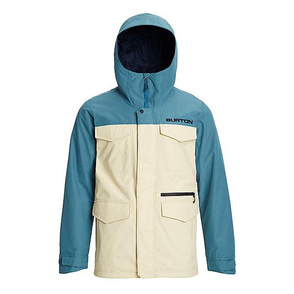 Burton Covert Mens Insulated Snowboard Jacket, Almond Milk-Storm Blue Ripstop, 600