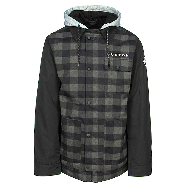 Burton Dunmore Mens Insulated Snowboard Jacket, True Black Heather Buffalo Pla, 600