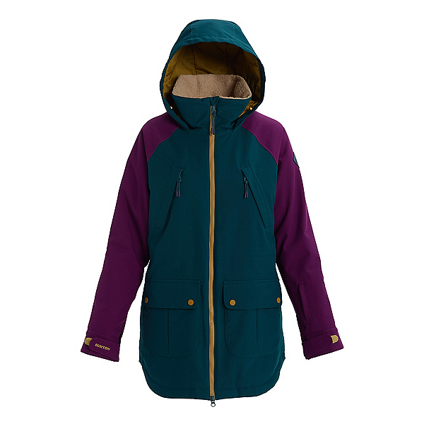 Burton Prowess Womens Insulated Snowboard Jacket 2020, Deep Teal-Charisma-Evilo, 600