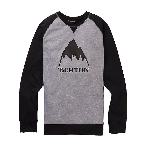 Burton Crown Bonded Crew, Gray Heather-True Black, 600
