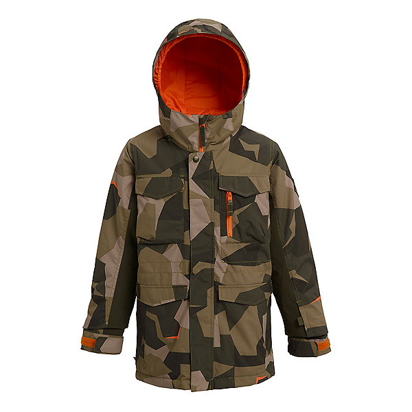Burton Covert Boys Snowboard Jacket, Three Crowns Camo, 600