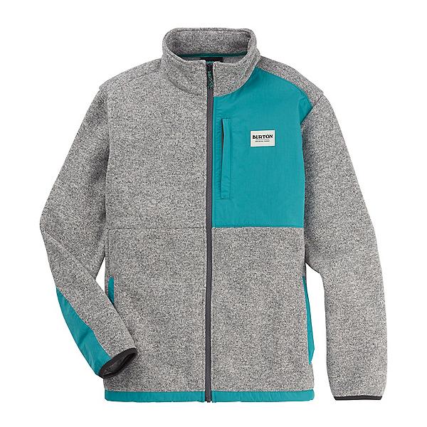 Burton Hayrider Fleece Full Zip Sweater, Gray Heather-Green Blue Slate, 600