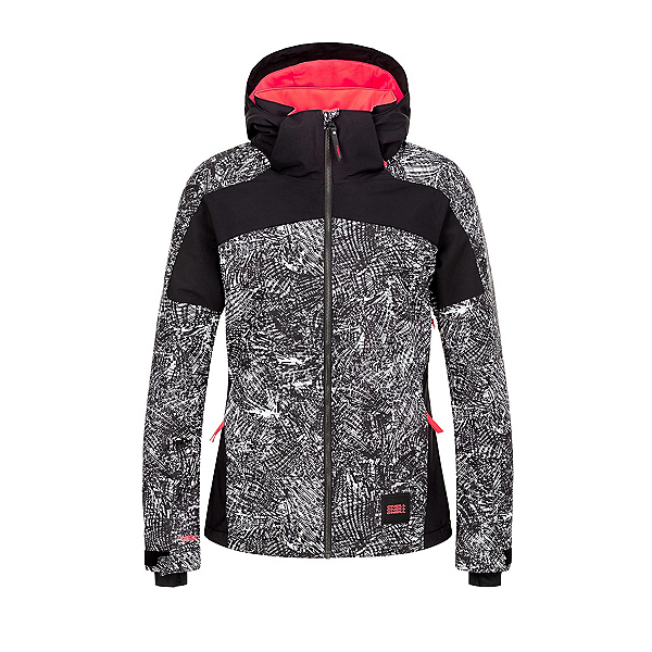 O'Neill Wavelite Womens Insulated Snowboard Jacket, Black Aop-White, 600