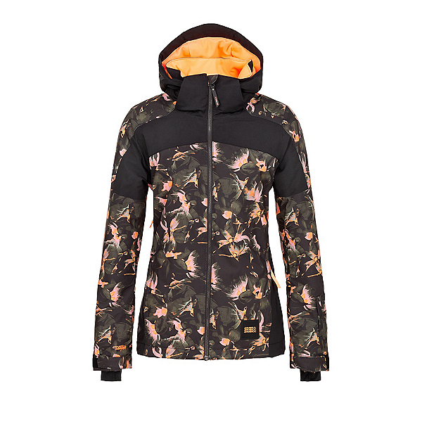 O'Neill Wavelite Womens Insulated Snowboard Jacket, Black Aop-Yellow, 600