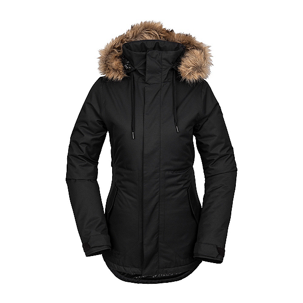 Volcom Fawn Faux Fur Womens Insulated Snowboard Jacket, Black, 600