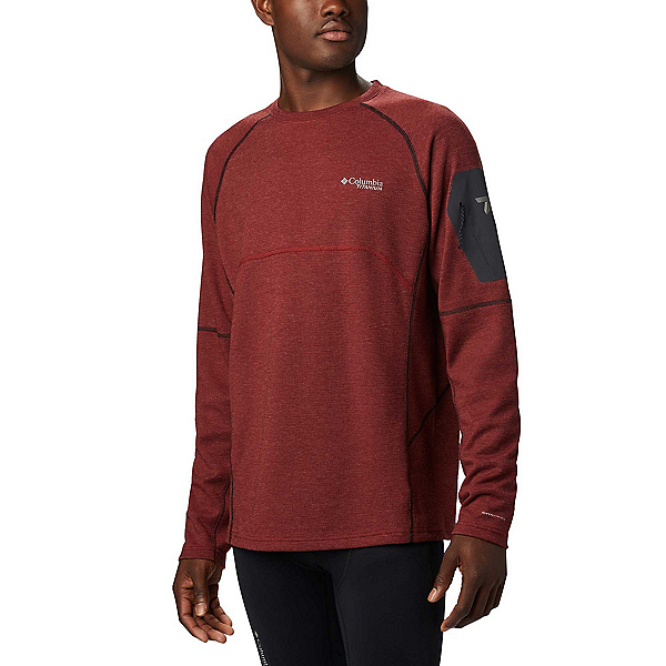 Columbia Mount Defiance Long Sleeve Crew Mens Mid Layer 2020, Red Jasper-Black, 600