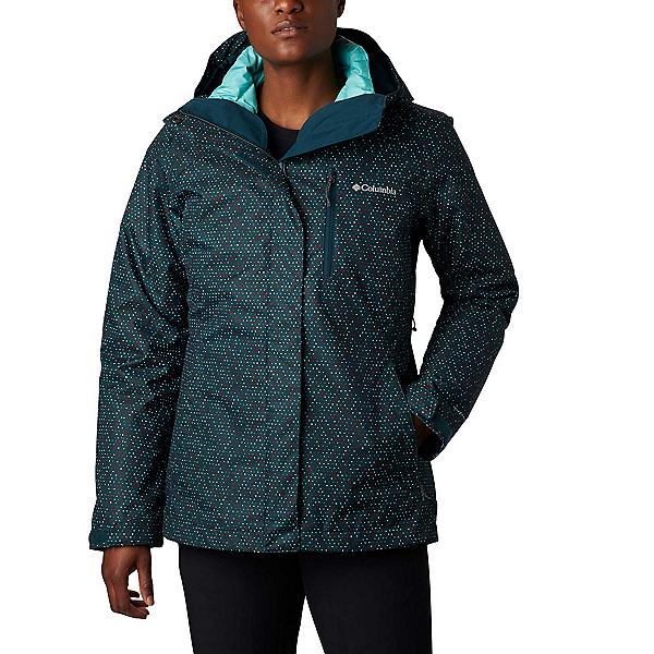 Columbia Whirlibird IV - Plus Womens Insulated Ski Jacket, Dark Seas Sparkler Print, 600