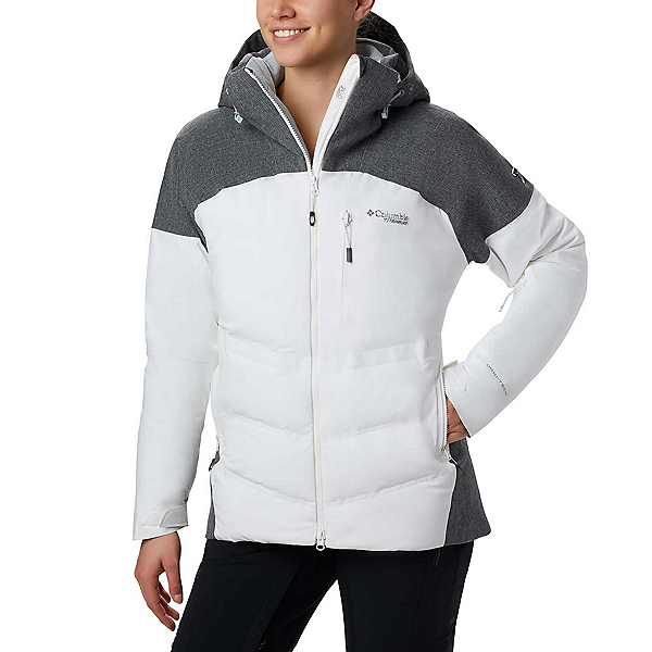 Columbia Powder Keg Down II Womens Insulated Ski Jacket, White-Cirrus Grey, 600