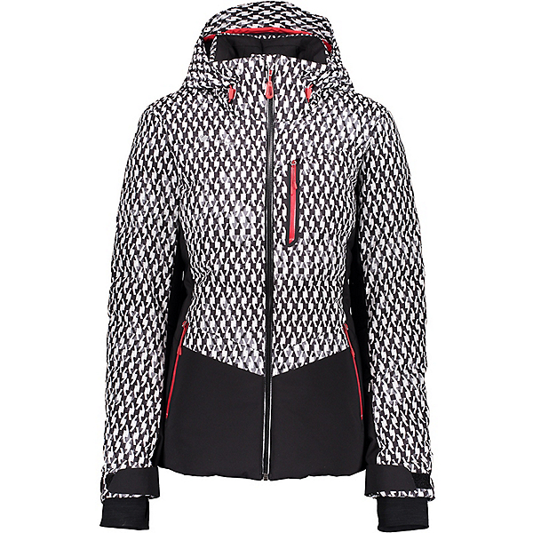Obermeyer Cosima Down Womens Insulated Ski Jacket, Black And Bianco, 600
