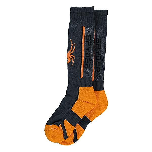 Spyder Sweep Kids Ski Socks 2021, Ebony-Bryte Orange, 600