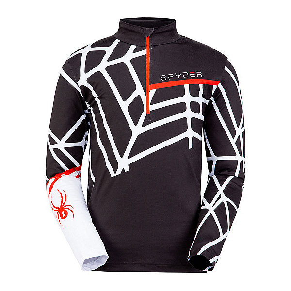 Spyder Vital Zip T-Neck Mens Mid Layer, Black-White, 600