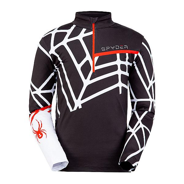 Spyder Vital Zip T-Neck Mens Mid Layer, Black-White, 600
