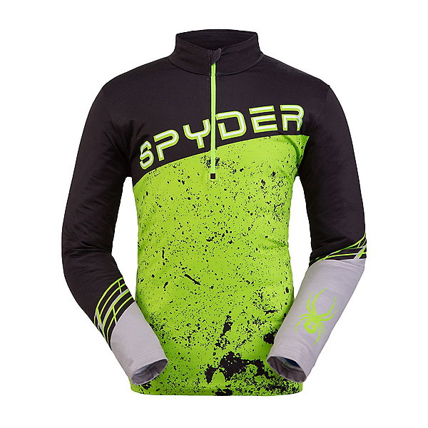 Spyder Mandate Zip T-Neck Mens Mid Layer, Black-Mojito, 600