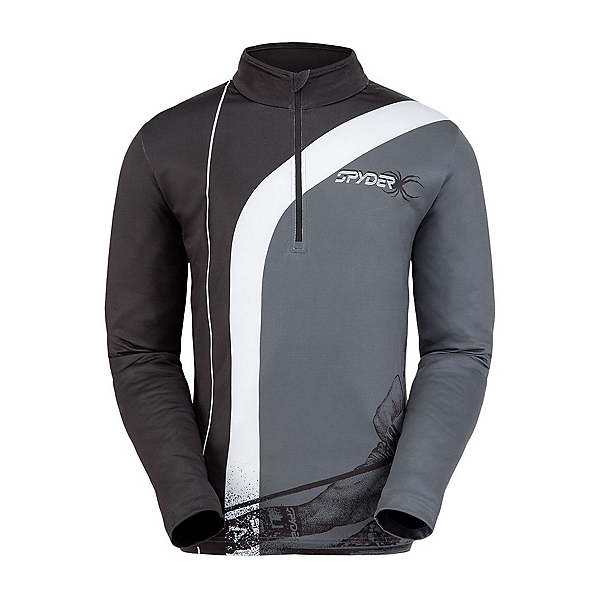 Spyder Rival Zip T-Neck Mens Mid Layer, Black-White, 600