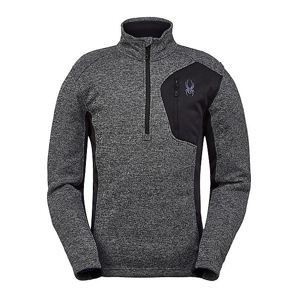 Spyder Bandit Half Zip Mens Sweater, Black-Alloy, 600