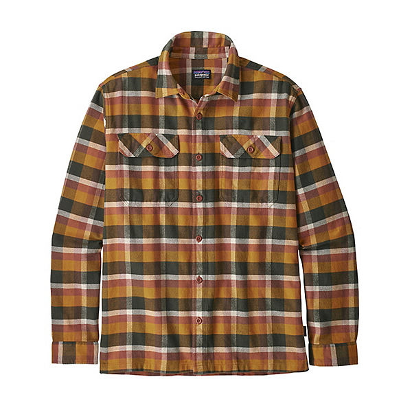 Patagonia Long Sleeve Fjord Flannel Shirt, Observer Wren Gold, 600