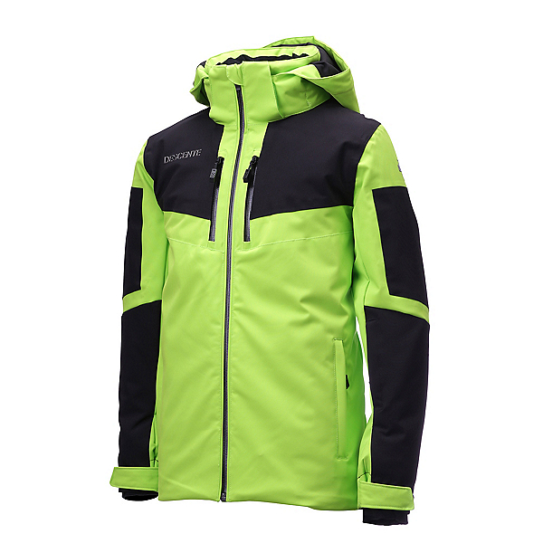 Descente Swiss Ski Team Jr. Boys Ski Jacket, Lime Green-Black, 600