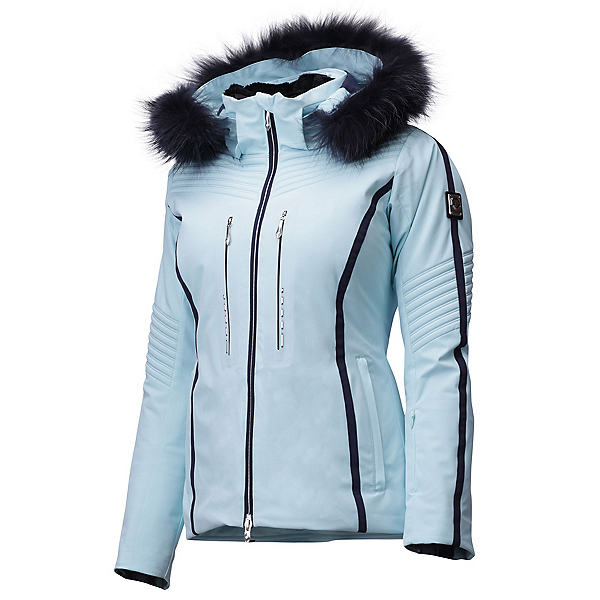 Descente Layla Faux Fur Womens Insulated Ski Jacket, Horizon Blue-Navy, 600