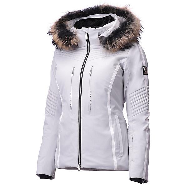 Descente Layla Faux Fur Womens Insulated Ski Jacket, Silver-Superwhite, 600