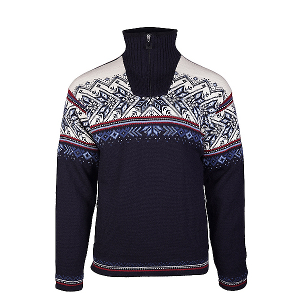 Dale Of Norway Vail Masculine Mens Sweater, Midnight Navy-Red Rose-Off Whi, 600