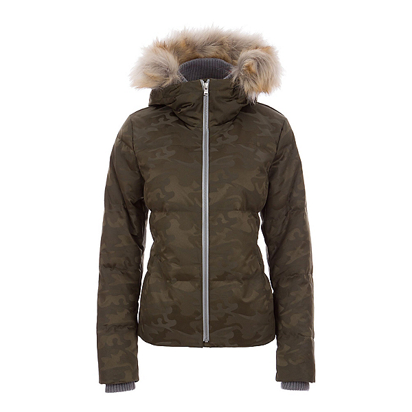 FERA Chloe Faux Fur Womens Insulated Ski Jacket, Olive Camo, 600