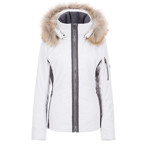 FERA Danielle II Faux Fur Womens Insulated Ski Jacket 2020, White Cloud-Charcoal, 600