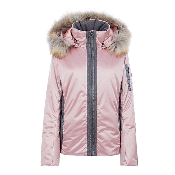 FERA Danielle II Special Edition Faux Fur Womens Insulated Ski Jacket, Rose Quartz-Charcoal, 600
