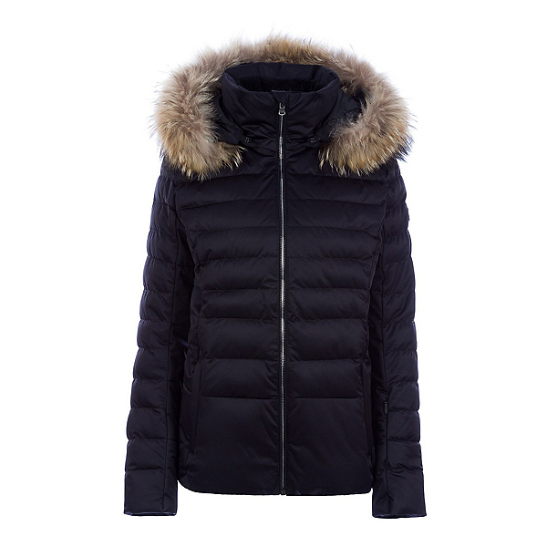 FERA Julia Real Fur Womens Insulated Ski Jacket, Black, 600