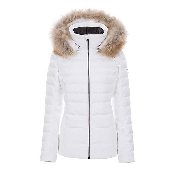 FERA Julia Faux Fur Womens Insulated Ski Jacket, White Cloud, 600