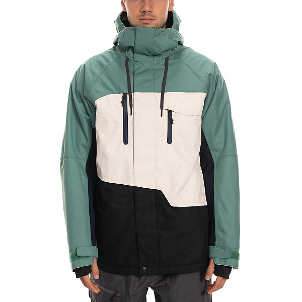 686 Geo Mens Insulated Snowboard Jacket, Marine Green Colorblock, 600