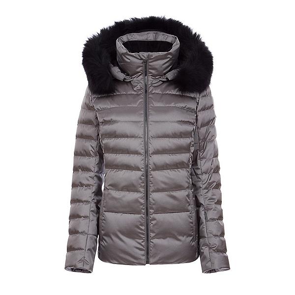 FERA Julia Special Real Fur Womens Insulated Ski Jacket, Pewter Plus Black Fur, 600