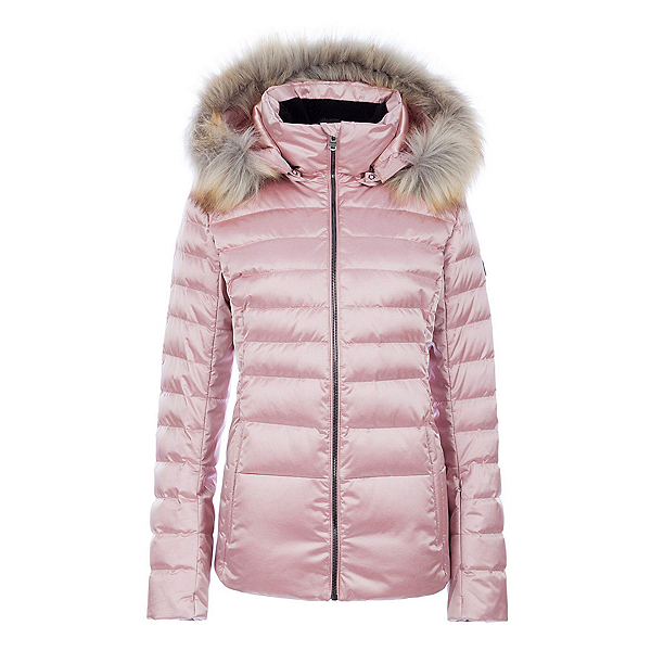 FERA Julia Special Faux Fur Womens Insulated Ski Jacket, Rose Quartz Plus Black Fur, 600