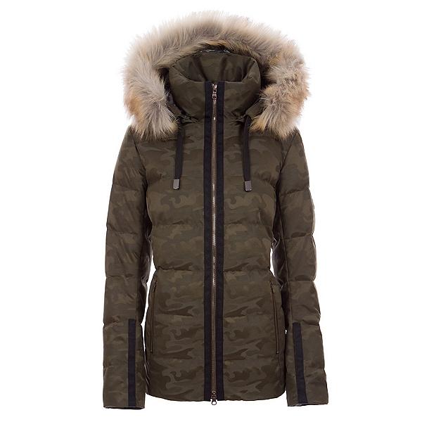 FERA Harper Faux Fur Womens Insulated Ski Jacket, Olive Camo, 600