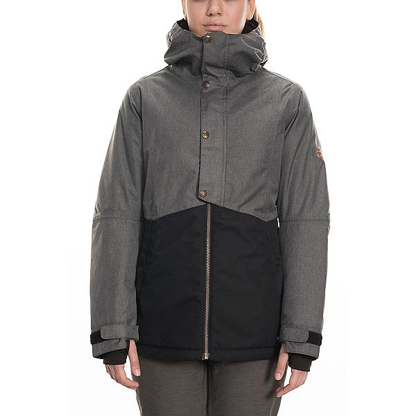 686 Rumor Womens Insulated Snowboard Jacket, Grey Melange Colorblock, 600