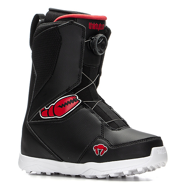 ThirtyTwo Youth lashed Boa Crab Grab Kids Snowboard Boots, Black-Red-White, 600