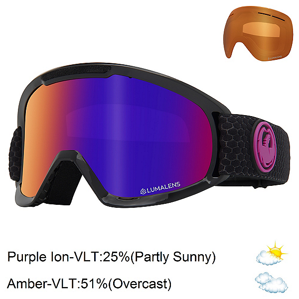 Dragon DX2 Goggles 2020, Split-Lumalens Purple Ion + Bonus Lens, 600