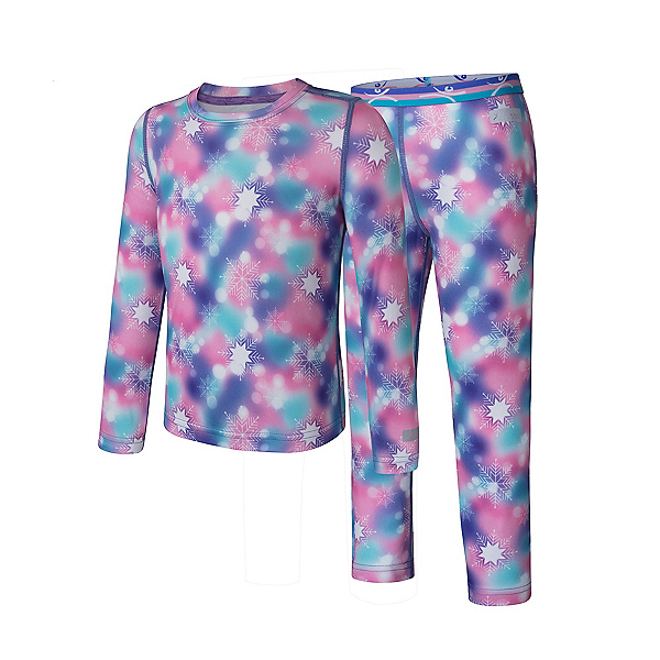Terramar 2.0 Free Ride 2pc Kids Long Underwear Set Girls Long Underwear Top, Snowflake Dreams Print, 600