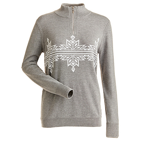 NILS Snowflake Womens Sweater, Steel Grey Heather-White Metal, 600