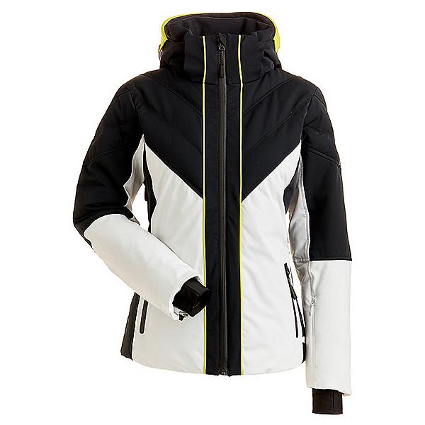 NILS Kaela Womens Insulated Ski Jacket, White-Black-Kiwi, 600