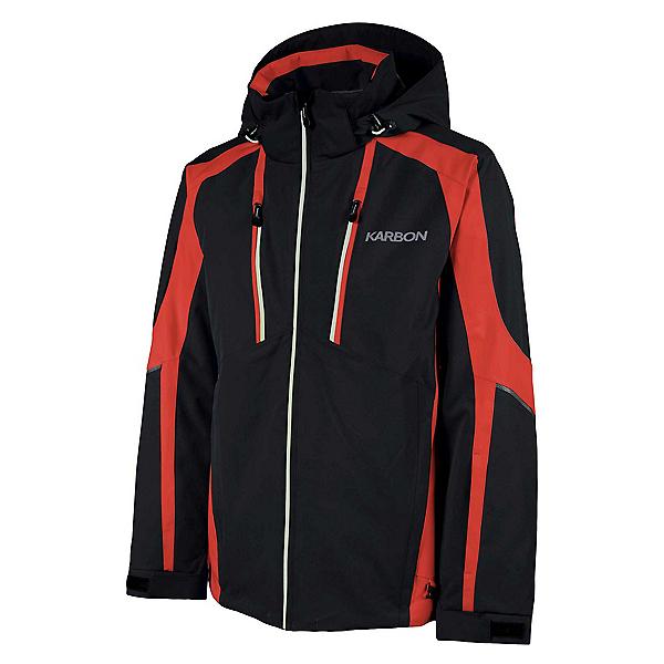 Karbon Neon Mens Insulated Ski Jacket, Black-Red-Glacier, 600