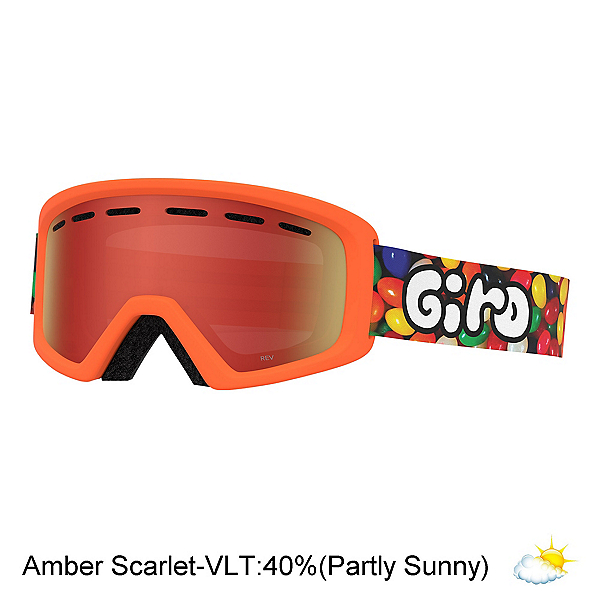 Giro Rev Youth Goggles, Jelly-Amber Scarlet, 600
