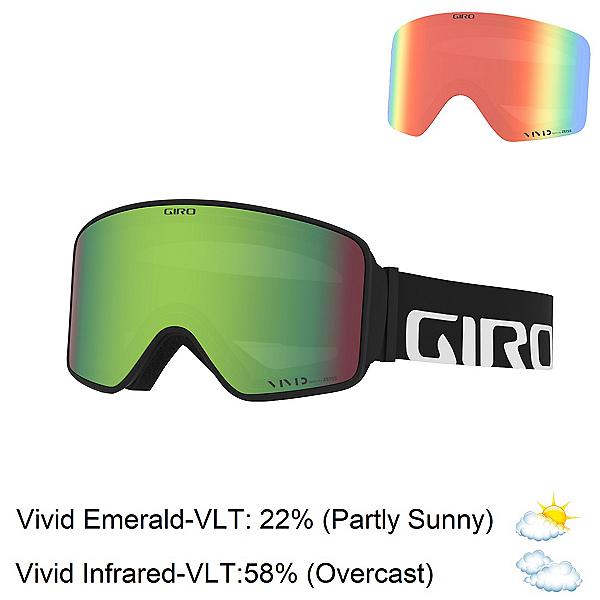 Giro Method Goggles 2020, Black Woodmark-Vivid Emerald + Bonus Lens, 600