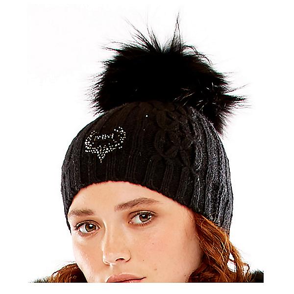M Miller Furs Deer Logo Cable Womens Hat, Black, 600