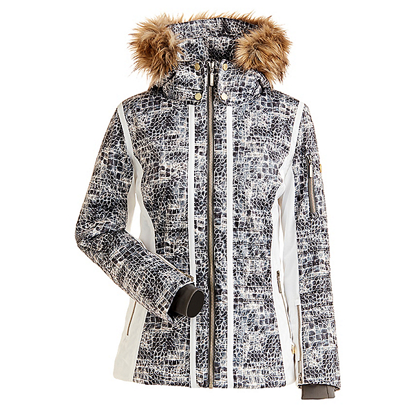 NILS Isa Faux Fur Womens Insulated Ski Jacket, Animal Print-White, 600