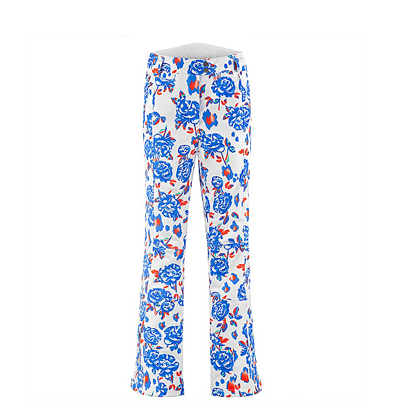 Poivre Blanc Flower Stretch Womens Ski Pants, Blue Flower, 600