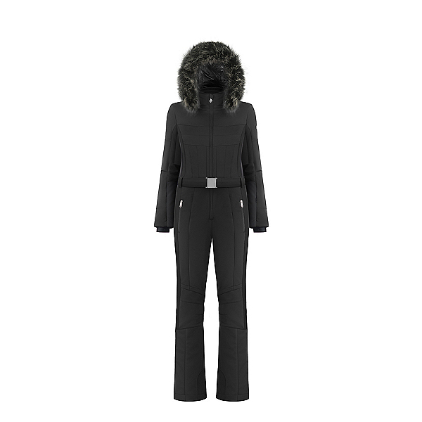 Poivre Blanc Stretch Ski Faux Fur Overall Womens One Piece Ski Suit 2020, Black, 600