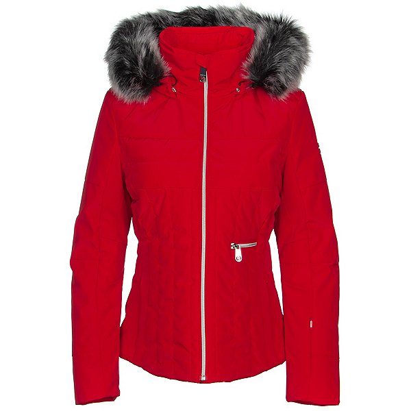 Poivre Blanc Traditional Faux Fur Womens Insulated Ski Jacket, Scarlet Red3, 600