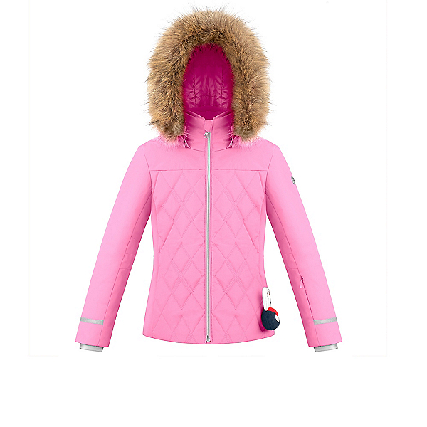 Poivre Blanc Traditional Faux Fur Girls Ski Jacket, Fever Pink, 600
